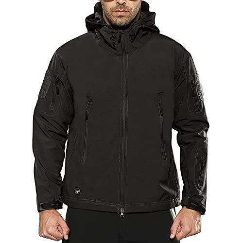 ANTARCTICA Men's Mountain Waterproof Ski Jacket Outdoor Sports Windproof Rain Jacket (Black, L)
