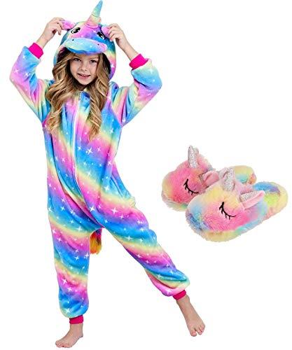 Girls Unicorn Pajamas Onesie with Unicorn Slippers (Rainbow Galaxy, 5-6 Years)