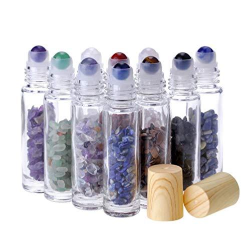 Glass Roller Bottle With Gemstone Roller Balls,10ml Roll On Bottles Essential Oil Roller Bottles Travel Sample Bottles With Crystal Chips Inside For Oil Perfume 10 Pcs