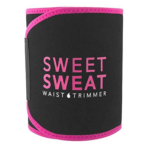 Sports Research Sweet Sweat Premium Waist Trimmer (Pink Logo) for Men & Women ~ Includes Free Sample of Sweet Sweat Gel! (SM: 8' Width x 35' Length)