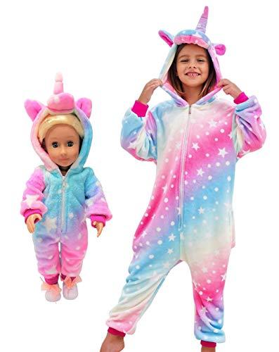 Unicorn Pajamas Onesie Costume Matching Doll & Girls Gifts (Pink Rainbow, 7-8 Years)