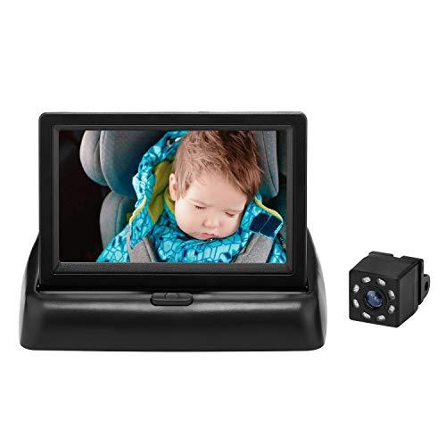 QIUTIMIY Baby Car Seat Mirror, View Rear Facing Infant Infrared Night Vision Camera, 360° Rotatable Fixing Bracket,Adjustable Back Monitor Video (Folding Screen&360° Night Vision Camera)