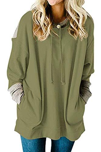 SEBOWEL Ladies Hoodies Knit Long Sleeve Autumn Winter Swestshirts Tops Green XXK