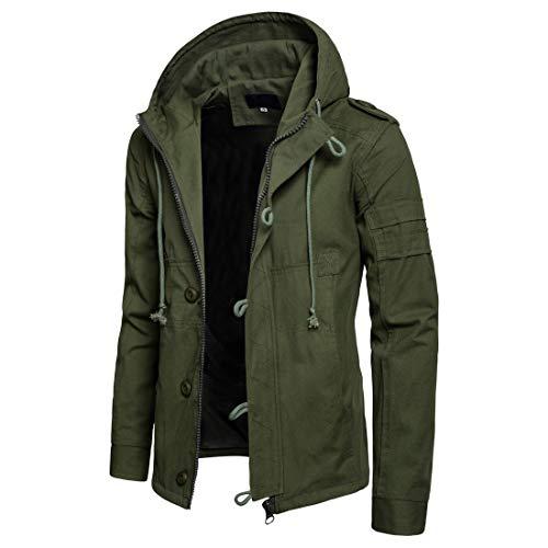 Men's Military Jacket Cotton Fall Winter Windbreaker with Hood Casual Coat