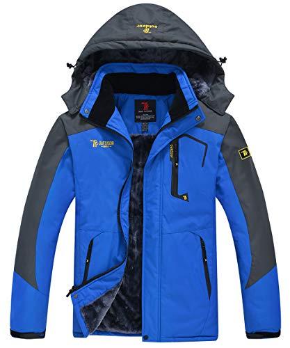 JINSHI Men's Mountain Waterproof Fleece Ski Jacket Windproof Rain Jacket (Blue,L)
