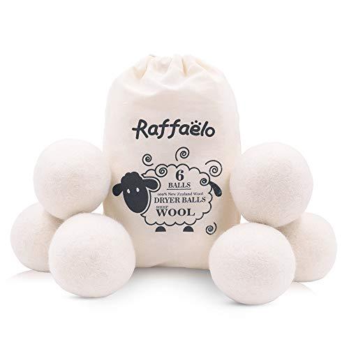 Wool Ball, Raffaelo Wool Dryer Balls XL Premium Reusable Natural Fabric Softener Pet Fur Hair Remover - Set of 6PCS (White)