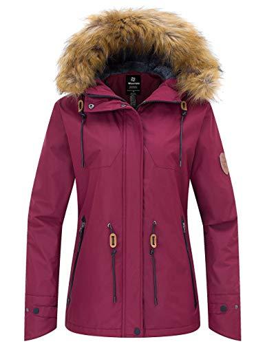 Wantdo Women's Waterproof Ski Jacket Cotton Padded Winter Snow Coat Raincoat Wine Red XL