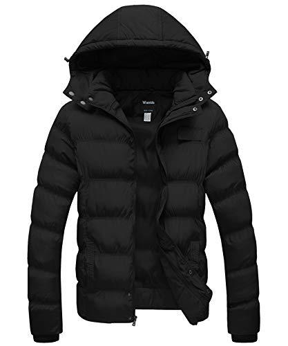 Wantdo Men's Winter Padded Cotton Coat Windproof Puffer Jacket Black Large