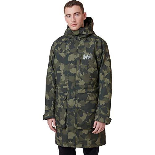 Helly Hansen Men's Rigging Waterproof Windproof Rain Coat Jacket With Hood, 484 Beluga Camo, X-Large