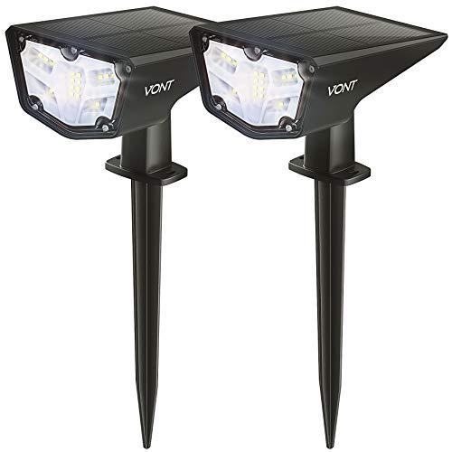 Vont 16 LEDs Outdoor Solar Lights [2 Pack] IPX67 Waterproof Landscape Spotlights, Garden Lights, Wireless Solar Powered Outdoor Lights/Lighting for Yard, Walkway, Driveway, Porch, Patio (Cool White)
