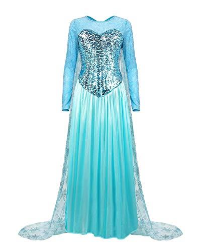 Colorfog Women's Elegant Princess Dress Cosplay Costume Xmas Party Gown Fairy Fancy Dress (3X-Large) Blue