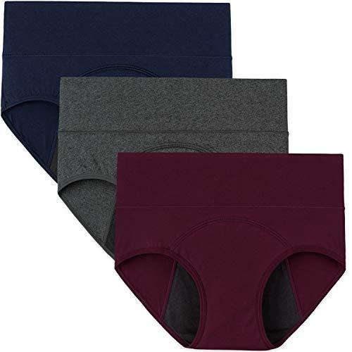 INNERSY Womens Menstrual Period Panties High Waist Cotton Postpartum Underwear 3 Pack(XX-Large, Dark Red&Navy&Gray)