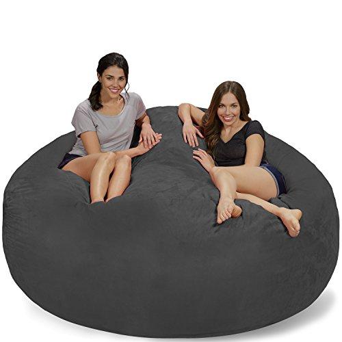 Chill Sack Bean Bag Chair: Giant 7' Memory Foam Furniture Bean Bag - Big Sofa with Soft Micro Fiber Cover - Charcoal Micro Suede