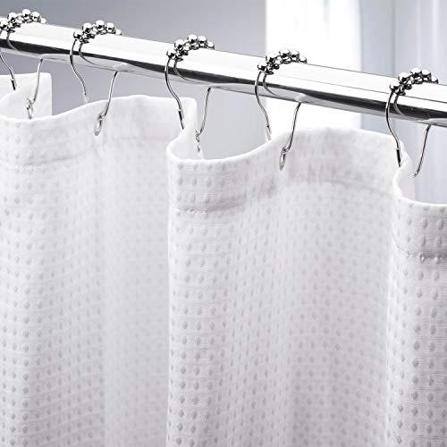 AmazerBath Waffle Shower Curtain, Heavy Duty Fabric Shower Curtains with Waffle Weave Hotel Quality Bathroom Shower Curtains, 72 x 72 Inches(White Honeycomb)