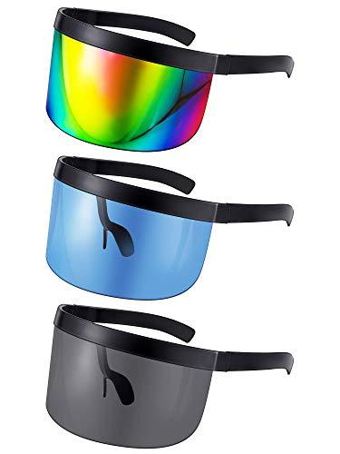 3 Pairs Oversize Shield Visor Sunglasses Flat Top Mirrored Sunglasses Large Face Cover Visor Eyeglasses Black Frame Colored Oversized Glasses