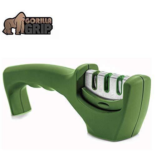 Gorilla Grip Original Premium Knife Sharpener, Professional Kitchen Chef 3 Slot Design, Easy Manual Sharpening, Non Slip Grip, Safely Sharpen Knives, Restore Your Dull Knife for A Sharp Edge, Green