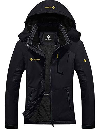 GEMYSE Women's Mountain Waterproof Ski Snow Jacket Winter Windproof Rain Jacket (Black, XL)