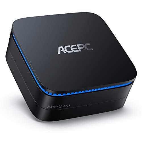 Mini PC, ACEPC AK1 6GB RAM/120GB ROM Mini Computer Windows 10 Pro Intel Celeron Processor J3455 Desktop Computer Support 2.5' SSD/mSATA SSD/4K HD/Dual HDMI/Gigabit Ethernet/Dual-Band
