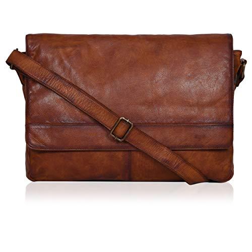 Tan Leather Messenger Bag for Men/Women 17' Zipper Laptop Briefcase