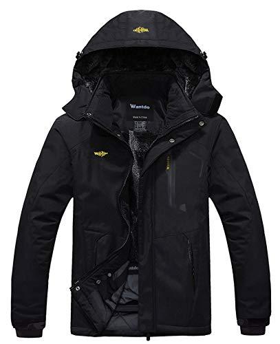 Wantdo Men's Waterproof Mountain Jacket Fleece Windproof Ski Jacket US 2XL Black 2XL