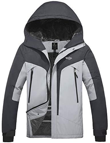 Wantdo Men's Mountain Jacket Waterproof Windproof Snowboarding Coat Grey S