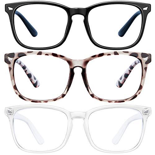 SoHattp Blue Light Blocking Glasses - 3Pack Computer Game Glasses Square Eyeglasses Frame, Blue Light Blocker Glasses for Women Men, Anti Eye Eyestrain Reading Gaming Glasses Non Prescription (douhua+black+Transparent)