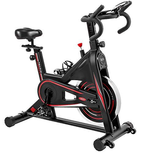 Exercise Bike, DMASUN Indoor Cycling Bike Stationary, Comfortable Seat Cushion, Multi - grips Handlebar, Heavy Flywheel Upgraded Version (Black)