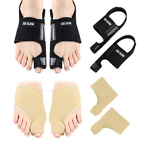 Bunion Corrector & Bunion Relief Protector Sleeves Kit - 4 Pieces Bunion Splints Big Toe Straightener for Hallux Valgus Aid Surgery