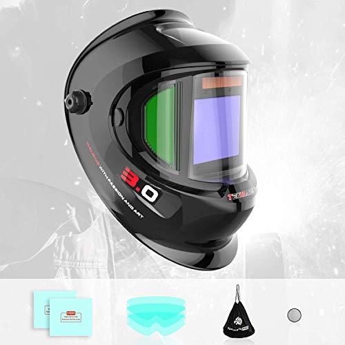 Tekware Large Viewing Auto Darkening Welding Helmet With Side View, Solar Powered True Color Welding Hood, 4 Arc Sensor Variable Shade 4/5/-9/9-13 Welders Mask for TIG MIG ARC Grinding Plasma
