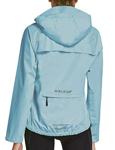 BALEAF Women's Cycling Jacket Rain Jackets Wind Breakers Waterproof Hiking Running Windproof Golf Reflective Lightweight Light Blue Size M