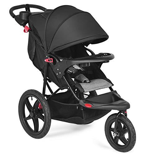 Costzon Baby Jogger Stroller, All Terrain Lightweight Fitness Jogging Stroller w/Parental Cup Phone Holder, Free Tractive Webbing, Large Storage Basket (Black)