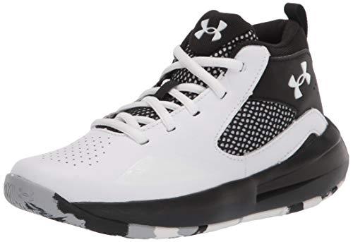 Under Armour unisex child Grade School Lockdown 5 Basketball Shoe, White/Black, Big Kid US