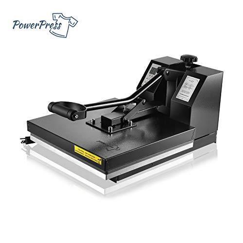 PowerPress Industrial-Quality Digital Sublimation Heat Press Machine for T Shirt, 15x15 Inch, Black