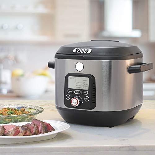 Zing Sous Vide Cooker, 8-in-1 SOUS VIDE to SEAR, Multi-Functional Cooker, Slow Cooker, Rice Cooker, Steamer, Saute, Boil, Yogurt Maker, & More FREE Sous Vide Starter/Vacuum Sealer Kit, 6 Qt