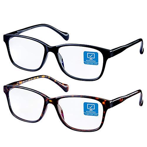 Blue Light Blocking Glasses/Computer Glasses 2 Pack for Women /Men Computer Reading/Gaming/TV/Phones Glasses,Anti Eyestrain & UV Glare