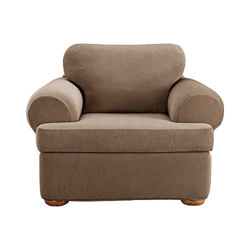 SureFit Home Décor Sure Home Décor Pique T-Cushion Chair Three Piece Slipcover, Stretch Form Fit, Polyester/Spandex, Machine Washable, Taupe Color