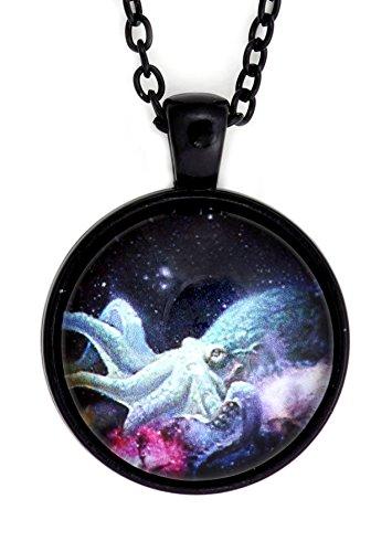 Magic Metal Outer Space Octopus Necklace Black Cosmic Nebula NV19 Star Cephalopod Photo Art Pendant Fashion Jewelry