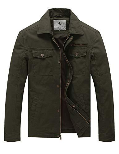 WenVen Men's Aviator Cotton Jackets (Army Green,XL)