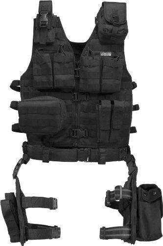 BARSKA BI12016 Loaded Gear VX-100 Tactical Vest and Leg Platform, Black, One Size