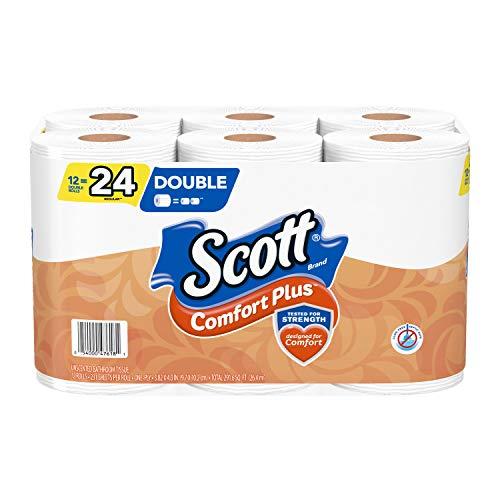Scott ComfortPlus Toilet Paper, 12 Double Rolls, 231 Sheets per Roll (12 Double Rolls = 24 Regular Rolls)