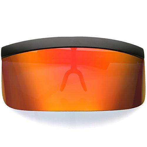 Futuristic Oversize Shield Flat Top Mirrored Mono Lens Visor Sunglasses 172mm (Red Orange Mirror)