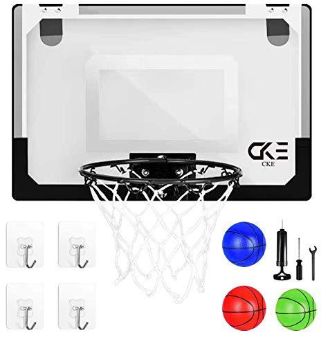CKE Indoor Mini Basketball Hoop for Door Wall Living Room Office with 3 Balls 4 Non-Marking Hooks 15.7' x 11' Kids Adult Mini Basketball Hoop Basketball Toy Gifts(Two Installation Methods)