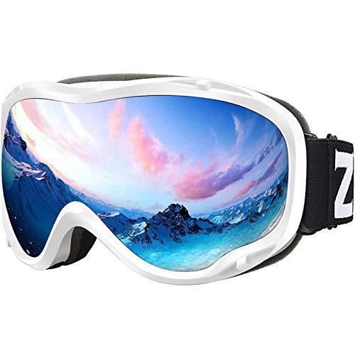 ZIONOR Lagopus Ski Snowboard Goggles UV Protection Anti fog Snow Goggles for Men Women Youth VLT 8.6% White Frame Silver Lens