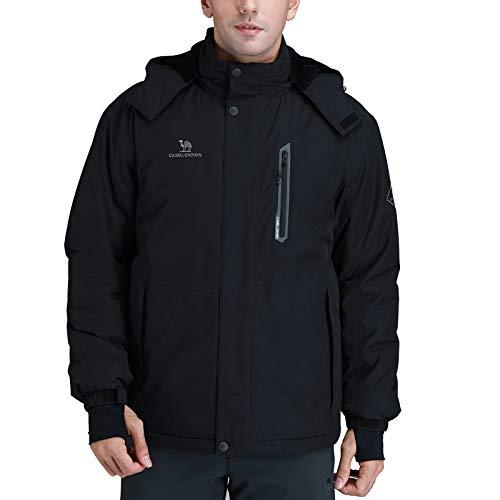 CAMEL CROWN Men's Mountain Snow Waterproof Ski Jacket Detachable Hood Windproof Fleece Parka Rain Jacket Winter Coat Black M