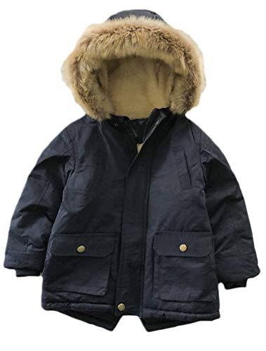 Mallimoda Boy's Thick Cotton-Padded Parka Jacket Hooded Fleece Coat Style 3 Navy 2-3 Years
