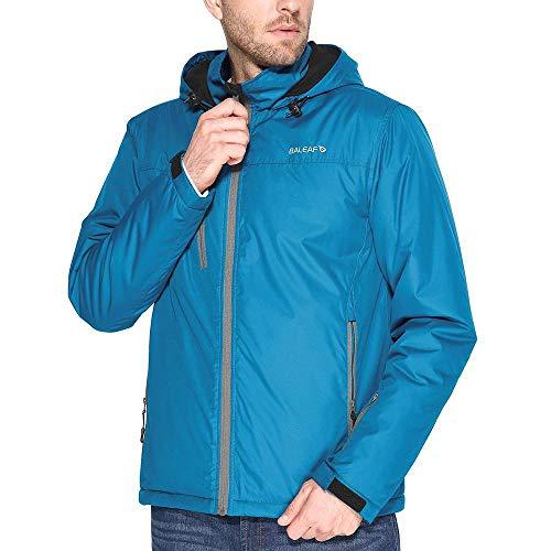 Baleaf Men's Ski Mountain Jacket Winter Coat Insulated Windproof Waterproof Outdoor Windbreaker with Hood Blue S