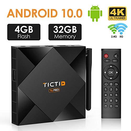 Android 10.0 TV Box 【4G+32G】, TICTID T6 PRO H616 64-bit Quad Core Arm Cortex A53 CPU 100M LAN, Wi-Fi-Dual 5G/2.4G, BT 4.0, 4K2K Smart TV Box