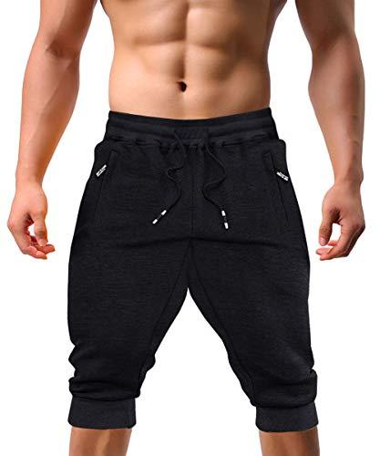 EKLENTSON Men's 3/4 Jogger Pants Gym Shorts Zipper Pocket Sport Fitness Sweatpants Running Shorts for Men