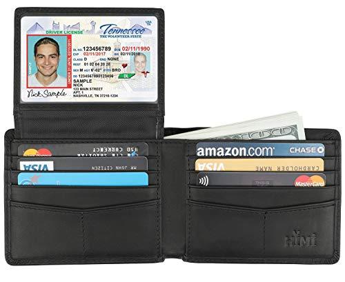 Wallet for Men-Genuine Leather RFID Blocking Bifold Stylish Wallet With 2 ID Window (Vintage Black)