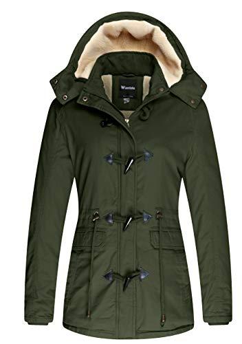 Wantdo Women's Warm Sherpa Lined Hooded Jacket Outdoor Coat Army Green, S